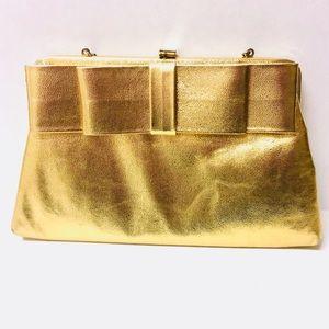 Vintage metallic gold Bow convertible clutch purse